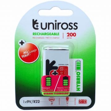 Uniross Hybrio PP3 200 Series 9V Rechargeable Battery